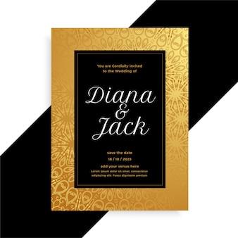 Modelo de convite de cartão de casamento dourado e preto de luxo