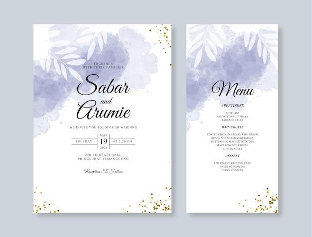 Modelo de convite de cartão de casamento elegante com toque de aquarela