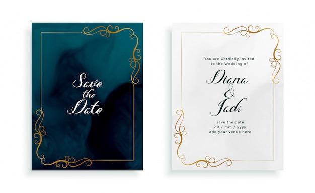 Modelo de convite de cartão de casamento floral elegante