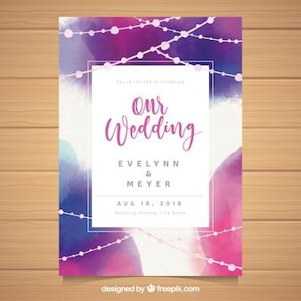 Modelo de convite de casamento abstrato aquarela