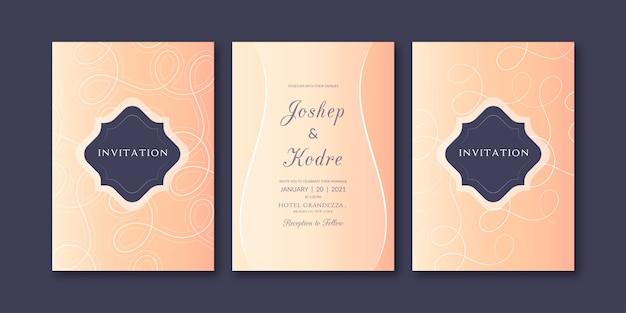 Modelo de convite de casamento amarelo rosa elegante
