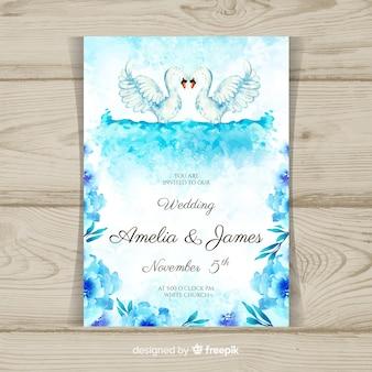 Modelo de convite de casamento animal aquarela