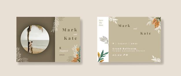 Modelo de convite de casamento aquarela floral marrom