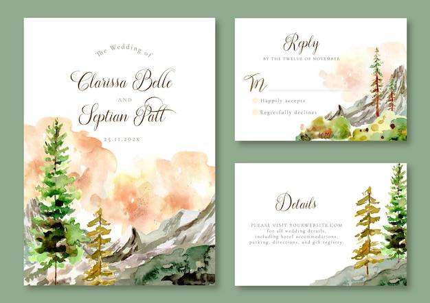 Modelo de convite de casamento aquarela paisagem com montanhas rochosas e pinheiros