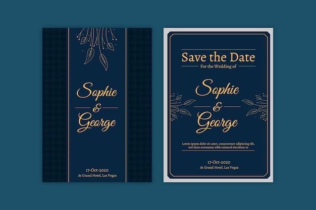 Modelo de convite de casamento azul com elementos dourados