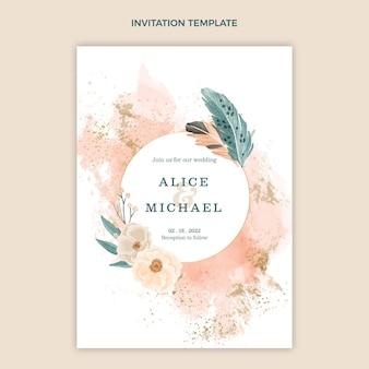 Modelo de convite de casamento boho em aquarela