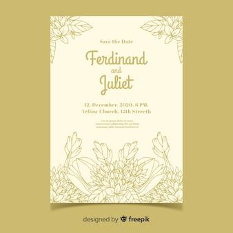 Modelo de convite de casamento bonito e elegante