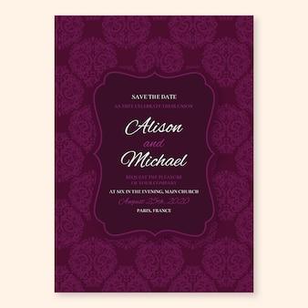 Modelo de convite de casamento chique do damasco