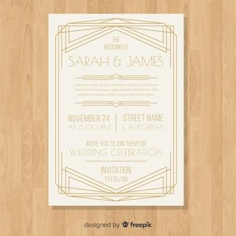 Modelo de convite de casamento clássico elegante em estilo art deco
