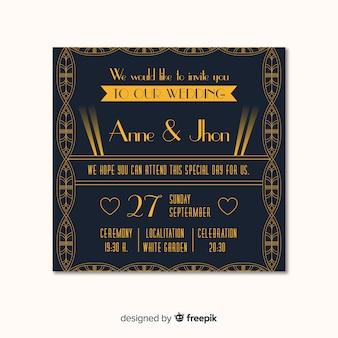 Modelo de convite de casamento clássico em estilo art deco
