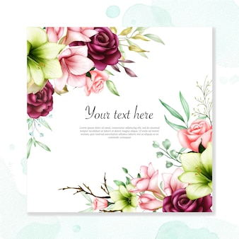 Modelo de convite de casamento com amaryllis aquarela e flores rosas