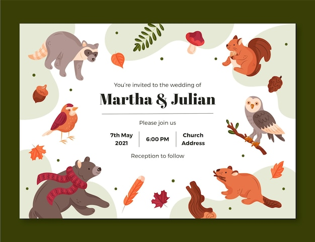 Modelo de convite de casamento com animais da floresta