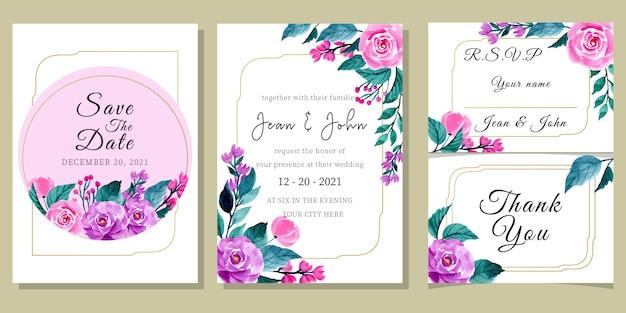 Modelo de convite de casamento com aquarela floral