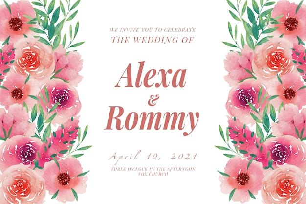 Modelo de convite de casamento com arranjo de flores