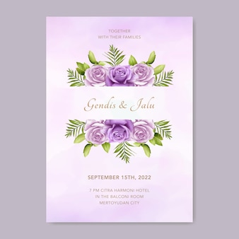 Modelo de convite de casamento com bela aquarela floral roxa