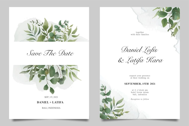 Modelo de convite de casamento com bela decoração de folhas em aquarela