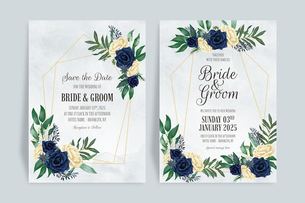 Modelo de convite de casamento com composição floral em aquarela empoeirada