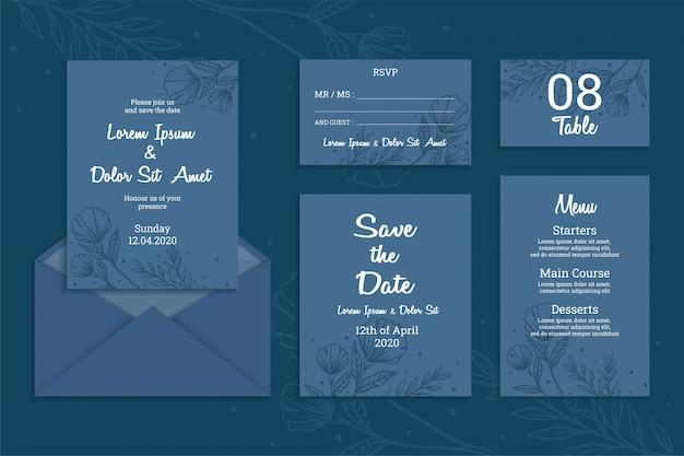 Modelo de convite de casamento com conceito simples e elegante. mão desenhada linda flor