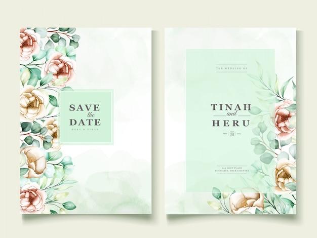 Modelo de convite de casamento com conjunto de folhas de eucalipto
