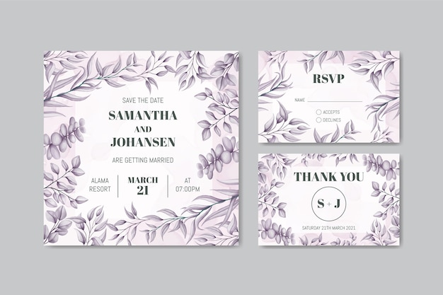 Modelo de convite de casamento com conjunto de quadro de folhas desenhadas à mão