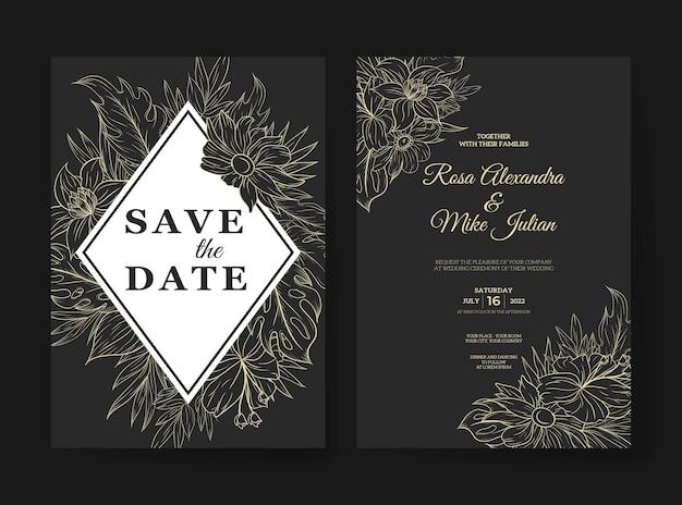 Modelo de convite de casamento com contorno de flores tropicais monstruosas