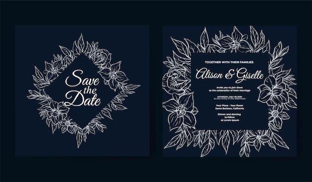 Modelo de convite de casamento com contorno de flores tropicais