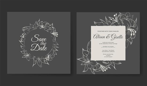 Modelo de convite de casamento com contorno desenhado à mão floral