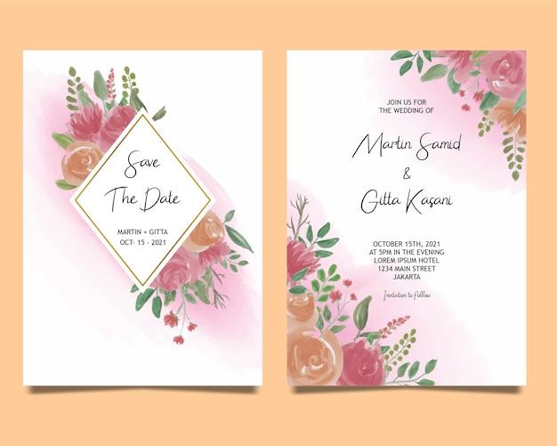 Modelo de convite de casamento com decoração de flores em aquarela