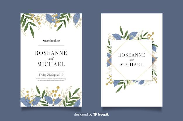 Modelo de convite de casamento com decoração floral