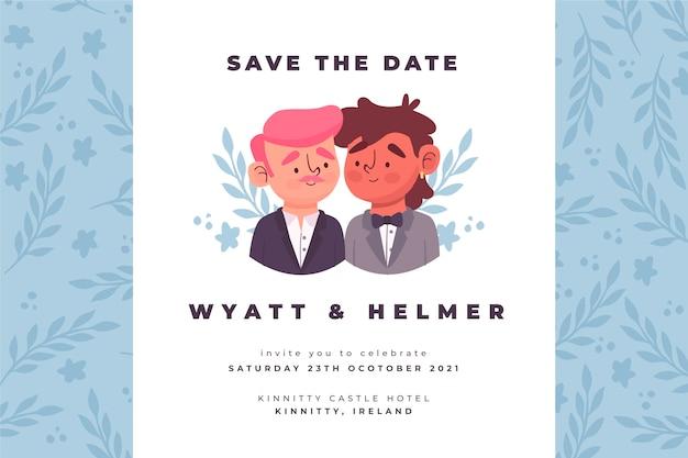 Modelo de convite de casamento com desenho