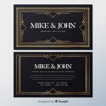 Modelo de convite de casamento com design adorável art deco