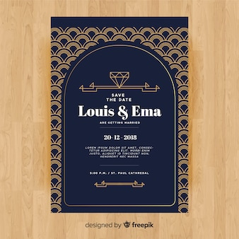 Modelo de convite de casamento com design decorativo art deco