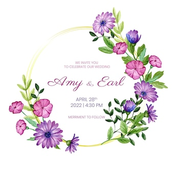 Modelo de convite de casamento com design floral