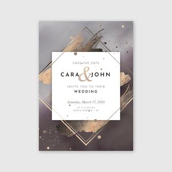 Modelo de convite de casamento com detalhes dourados