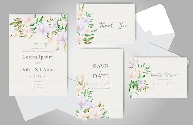 Modelo de convite de casamento com elegante arranjo floral e folhas