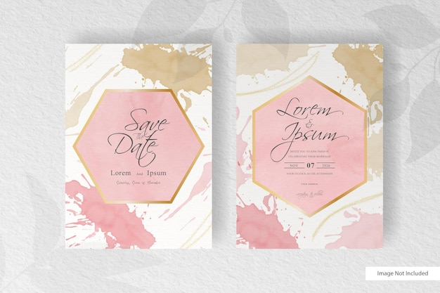 Modelo de convite de casamento com elegante respingo de fluido abstrato