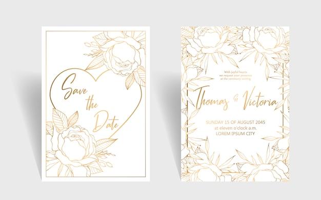 Modelo de convite de casamento com elementos decorativos dourados