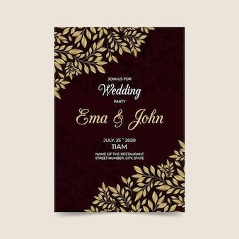 Modelo de convite de casamento com elementos luxuosos