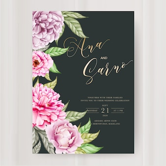 Modelo de convite de casamento com flor de peônia aquarela
