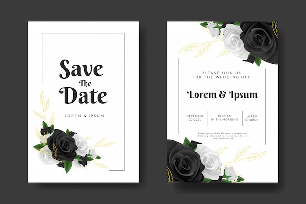 Modelo de convite de casamento com flor rosa preto e branco
