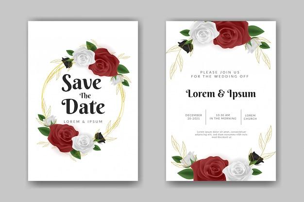 Modelo de convite de casamento com flor rosa vermelha e branca