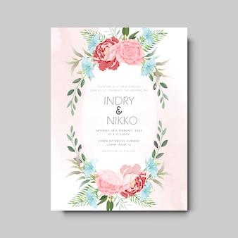 Modelo de convite de casamento com floral bonito e elegante