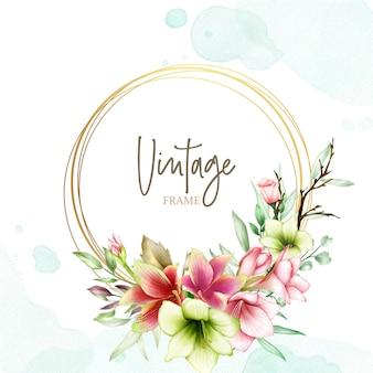 Modelo de convite de casamento com flores de amaryllis aquarela