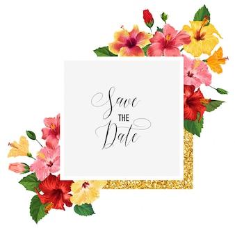 Modelo de convite de casamento com flores de hibisco vermelho e moldura dourada
