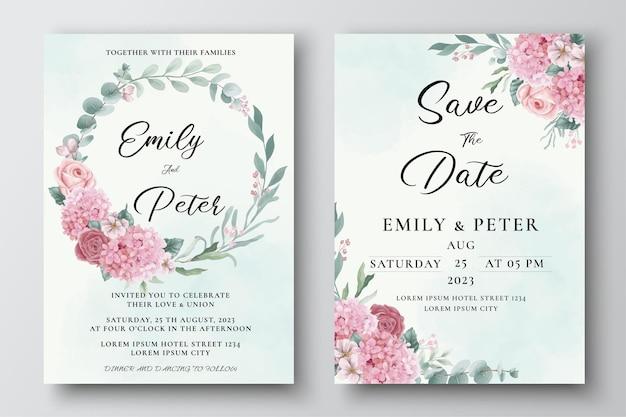 Modelo de convite de casamento com flores de hortênsia e rosas em aquarela