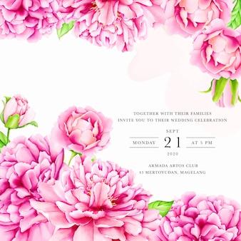 Modelo de convite de casamento com flores de peônia aquarela