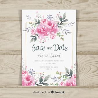 Modelo de convite de casamento com flores de peônia