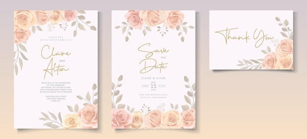 Modelo de convite de casamento com flores desabrochando em cores suaves