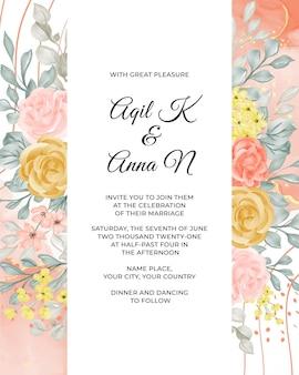 Modelo de convite de casamento com flores e folhas