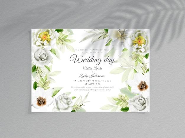Modelo de convite de casamento com flores elegantes